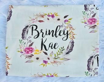 Personalized swaddle / snuggle organic cotton knit blanket / watercolor / boho / flower / floral wreath name / custom nursery / muslin