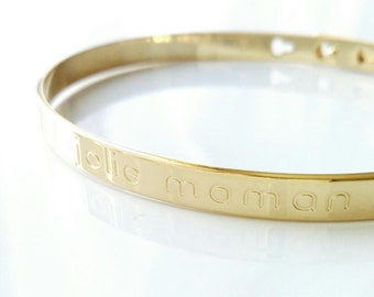 "Serious cane 'pretty mum' plated gold 750/000 - Bracelet, message beautiful MOM, gift MOM - ""pretty mum"" Bracelet bangle gold plated 18 k"