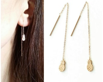 Pineapple through gold-plated 750/000 - earrings chains, pending, pineapple earrings gold - gold plated pineapple earring