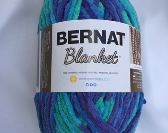 Ocean Shades 10776 Bernat Blanket Yarn ~ 10.5 oz Skein ~ Baby Blanket Yarn ~ Super Bulky (6)  ~ Chunky Yarn ~ Winter Yarn ~ Warm Yarn