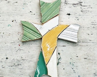 Green Mosaic Cross, Recycled Wood Cross Christian Art Bohemian Cross Religious Decor Wood Wall Cross Rustic Cross Wooden Cross Boho Wall Art