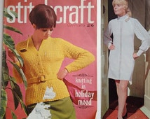 Vintage 60's Stitchcraft Magazine May 1969 Sewing Knitting Crochet Embroidery Patterns for Men Women Children and the Home