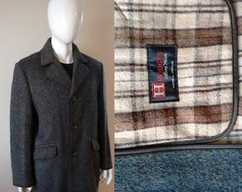 Vintage Men's Single Breasted Grey Green Brown Blue Cashmere Wool Blend Jacket Coat