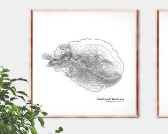 Camelback Mountain Contour Map Art Print