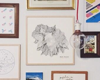 Mount Rainier Contour Map Archival Art Print