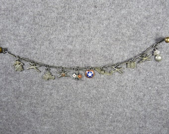 WW II ? Army Air Forces Sterling Silver Sweetheart Charm Bracelet With 11 Charms