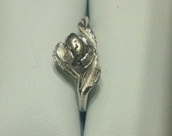 Rustic Pyrite Sterling Silver Flower Ring