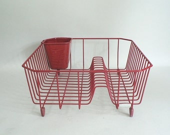 Red Kitchen Dish Drainer Rack
