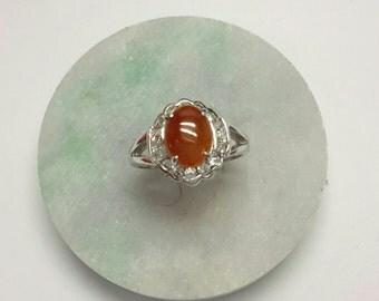Red jade ring, jade ring, silver jade ring