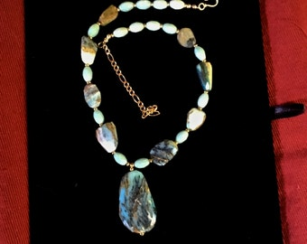 Blue opal necklace and ear rings.
