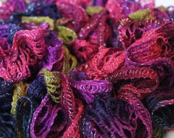 Colorful Bohemian Ruffle Scarf with metallic shimmer, Thick & Full