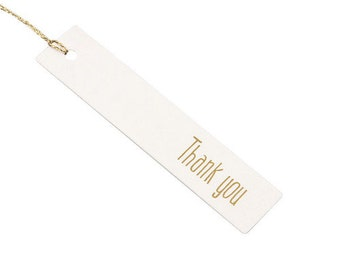 10 x Thank You Tags / White + Gold Tags