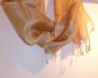 Handwoven Gold Silk Stole Naturally Gold Muga Silk Scarf dupatta stole