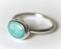 Oval Turquoise Ring, Oval stone, Turquoise Ring, Turquoise Jewellery, Stacking Ring, Delicate Ring, Sterling Silver Ring, Amazonite