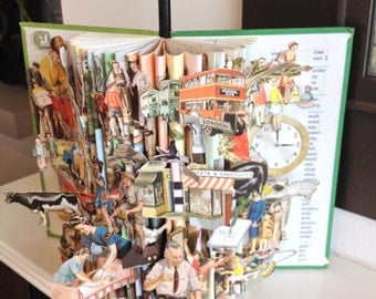 Ladybird 'Picture Dictionary' Brought To Life Unique Vintage Book Sculpture