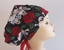 Women's surgical scrub hats, or scrub caps-Bones & Roses