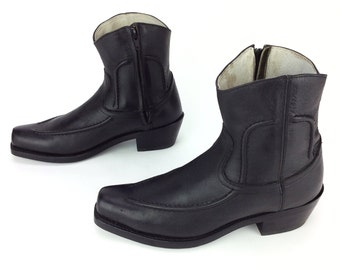Men's Durango TR 580 Black Leather Zipper side Cowboy Western Ankle Boots Sz. 8 D