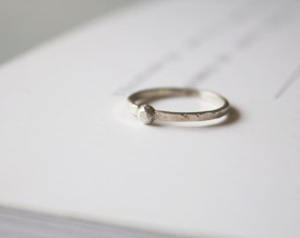 Beat trace 3mm Sterling silver ring -handmade - handcraft