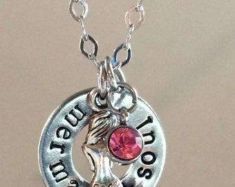 Hand Stamped MERMAID SOUL Stainless Steel Washer Necklace with Mermaid Charm and Swarovski Crystal