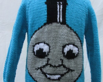 Hand knitted Thomas Train Face Sweater
