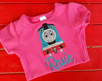 girls personalized custom thomas the train shirt