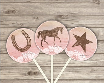 Horse Cupcake Toppers Pink Gold Party Circles 2 inch Girl Party girl Horse Riding Party Shabby Country Farm
