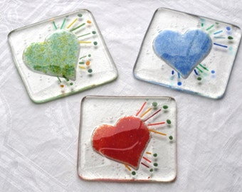 3 Glass coasters. Heart coasters, Modern drinks coaster, Glass heart, Red heart, Green heart, Blue heart, Modern coasters, Coloured heart