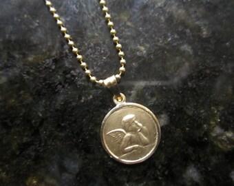 14k yellow gold cherub Guardian Angel pendant