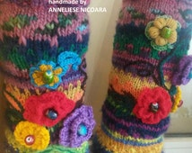 Only to order/Knit colorful leg warmers with flowers, Knit socks with flowers, Ankle socks, gestrickte Socken mit Blumen