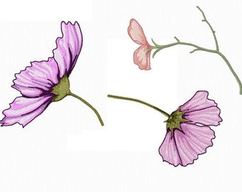 3 reasons for embroidery of flowers 4 x 4 format