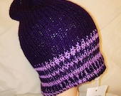 RETRO pink purple colour mix Handmade beanie hat double knit extra thick ski snowboard garden one size unisex wool #retro #gift