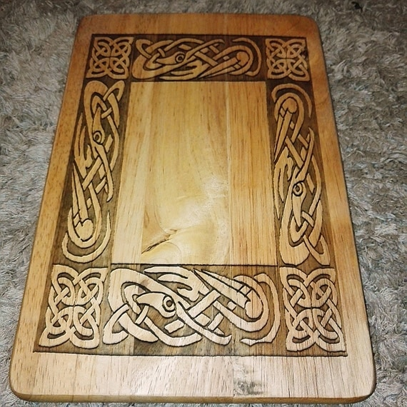 Norse Dragon engraved natural reclaimed wooden serving platter kitchen chopping cheese board celtic viking mythology