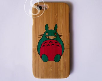 Real Wooden iPhone 6 case, Totoro iPhone SE case, Wood iPhone 6s plus case, Totoro iPhone 6s case, Bamboo iPhone 6 plus case, SD-33