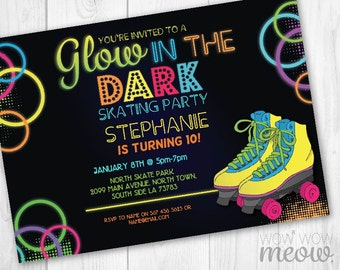 Glow in the Dark Roller Skating Invitations Skate Party Invite Birthday INSTANT DOWNLOAD Neon Girls Boys Personalize Editable Printable