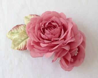 Vintage Rose Pink Pure Silk Hair Comb