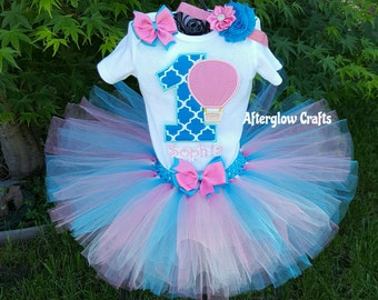 Hot Air Balloon Tutu Set, Hot Air Balloon Birthday Tutu, Birthday Hot Air Balloon Tutu, Hot Air Balloon Birthday Tutu Outfit.