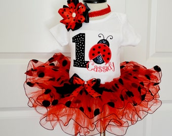 Ladybug birthday Outfit,first birthday outfit girl,Red black polka dot tutu,Cake Smash Outfit Girls,Ladybug first Birthday, Ladybug dress