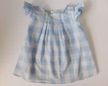 Light Blue Gingham Dress, Girls Dorothy Dress, Flutter Sleeve Dress, blue dress, Pleated Dress, Baby Dorothy Dress, Dorothy Costume,