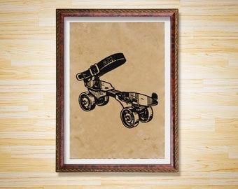 Vintage Roller Skate print Steampunk poster Antique decor