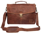 Leather SatchelBrieftcase Bag  Up to 15 Laptop capacity in Vintage Brown by MAHI Leather