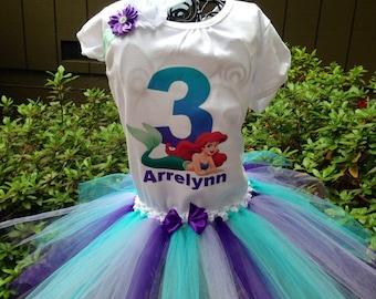 Little mermaid tutu outfit, ariel birthday tutu outfit, birthday tutu set