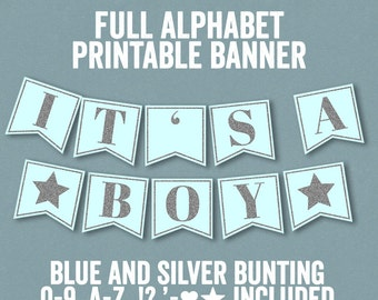 Printable Blue and Silver Banner, Baby shower bunting, diy bunting printables, alphabet banner, blue party printable, happy birthday S3E3