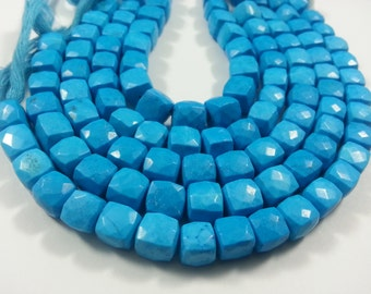 8 mm , Turquoise 3D Cubes , 8.0 inches