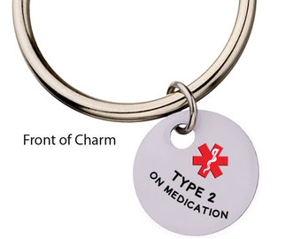 Type 2 Diabetes on Medication with Red Star Medical Alert Keychain,  Charm Keychain, Medic Alert, Key Ring, Diabetes,82