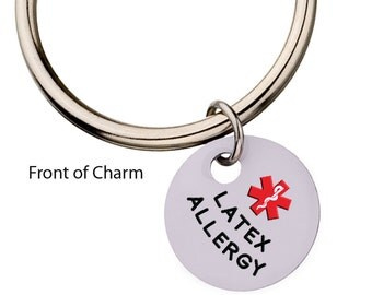 Latex Allergy Medical Alert Keychain,  Charm Keychain, Medic Alert, Key Ring, Latex Allergy Charm,73