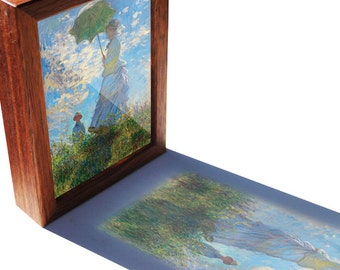 Claude Monet Woman with a Parasol see-through print that glows in natural light