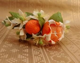 Flower hair wreath. Bridesmaid flower accessories. Orange flowers. Mandarin blossom.