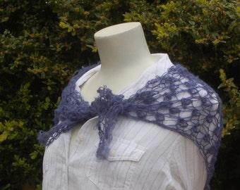 Wool triangle lace shawl wrap; handknitted bramble stitch shawl in blue