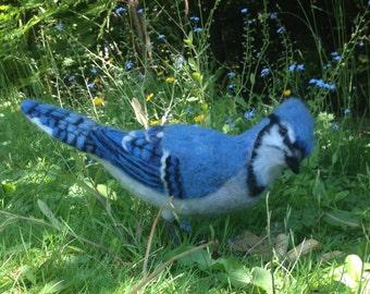 Needle Felted Blue Jay Bird