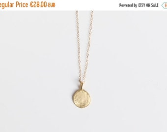 ON SALE ANOTHER Love. Necklace gold gold hammered circle 18